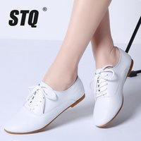 STQ 2020 Primavera Donna Oxford Scarpe BALLERINE Women Shoes Genuine Leather Shoes Mocassini stringati Mocassini Bianco 051