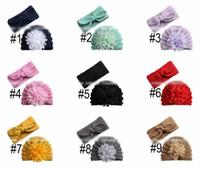 2 unids / set Baby Hat + Headband Gasha Floral Baby Crochet Hats Girls Headbands Head Bands Infant Beories Baby Girl Sombreros Caps