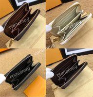 도매 짧은 지퍼 지갑 여성의 정품 가죽 지퍼 디자인 카드 파우치 라운드 동전 지갑 63070 캔버스 지갑 60067 무료 배송