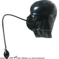 أسود مثير أغطية اللاتكس زي مع نفخ الأقنعة المطاطية الفم والأنابيب مضخة اليد زائد الحجم 0049