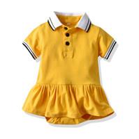 여름 유아 여자 공주 romper 패션 키즈 옷깃 스트라이프 짧은 소매 프릴 Tutu Jumpsuit 귀여운 노란 아기 면화 onesie y2327
