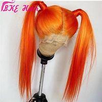 Hohe Qualität 180Dichte 360 Spitze Frontal Volle Haare Perücken Lange gerade Orange Synthetische Spitze Front Perücke Für Frauen Kostüm