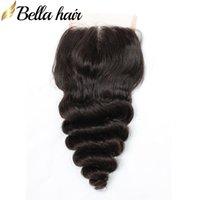 Свободная волна HD кружева закрывает 100% бразильский перуанский индийский малазийский человеческий девственница волос закрытие волос 3 части 4x4 натуральный цвет 8-26 дюймов Bella волос