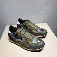 2019 CAMUFLAJE rock runner sneaker camo tachonado Diseñador Mujer Zapatos Zapatos Chaussure Moda Nude Cuero Cordones Zapatos casuales