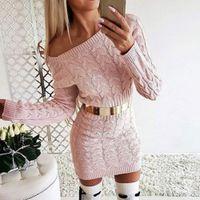 CYSINCOS 섹시한 스웨터 드레스 여성 가을 미니 긴 소매 핑크 화이트 블랙 니트 드레스 2019 Bodycon 겨울 숙녀 Vestidos
