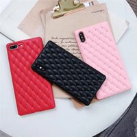 Luxury Diamond Grid Square Phone Cover For iPhone X XR Xs Ma...