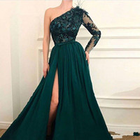 Elegant A Line One Shoulder Prom Gowns Green Dubai Arab Even...