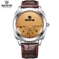 Уникальный Vogue Дизайнер Skone Марка Часы Мужчины Luxury Fashion Повседневная Кожаный Ремешок Часы Кварцевые Wrtistwatch Relogio Masculino Y19052103