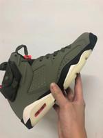 2019 Nouveau 6 moyen d'olive verte chaussures de basket-ball bas hommes 6s VI sneakers sport formateurs en plein air avec la boîte