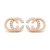 2019 Groothandel Merk Designer Dubbele Letters Oorbellen Oor Studs Gold Tone Earring voor Vrouwen Mannen Bruiloft Sieraden Gift