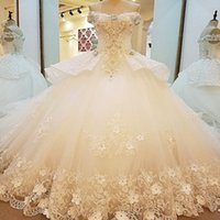 Bridal Gown With Peplum Off The Shoulder V- Neck Beading 3D F...