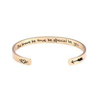 Мода из нержавеющей стали Магнитного Open Надписи манжета браслет Be Brave Правда Будь Особенный Be You Вдохновенный Браслет Слово