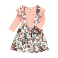 Baby Dress ragazze del vestito bambini Solid Ruffler manica lunga bambini vestiti casuali Bambine arco del vestito floreale Tracolla regolabile 06