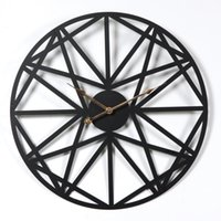 New 50CM Creative Retro Circular Wall Clock Household Five-Pointed Star Pattern Iron Hanging Clocks Roman Numerals Sale - Black