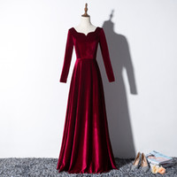Elegant Velvet Long Prom Evening Dresses 2020 Real Pictures ...