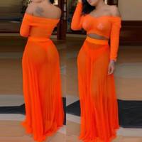 Kadınlar Seksi Şeffaf Mesh İki Adet Set Yaz Pileli Kapalı Omuz Uzun Kollu Crop Top + Maxi Etekler Plaj Clubwear Eşleştirme Setleri