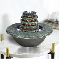 HOT Wholesales Free shipping 2019 7.5in Faux Cyan Stone Waterfall Indoor Fountain with LED Light
