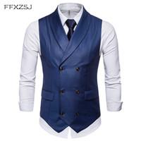 Мужские жилеты FFXZSJ стиль двубортный винтажный костюм для мужчин тонкий Джилет Свадебные Жистые платье Без рукавов Колют Homem