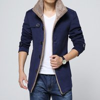 Man Long Sleeve Thick Overcoat Slim Plus Size Mens Winter Bl...