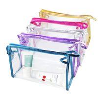 Le maquillage imperméable clair met en sac la poche PVC de vinyle de lavage à glissière de sac de vinyle pour la salle de bains de vacances voyage transparent organisant le sac de stockage