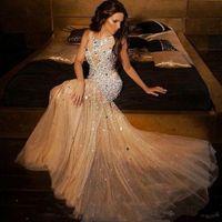 Luxo Champagne Cristal Mermaid Prom Vestidos Dubai Abiye longo frisada vestidos de noite formal do partido Vestidos Vestido de Festa