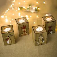 شجرة عيد الميلاد عيد الميلاد شمعة خشبية حامل الخشب الشاي الخفيف لحاملي الشموع عشاء عيد الميلاد شمعة