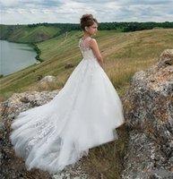 결혼식을위한 퓨어 화이트 성령 영성체 드레스를 들어 공주 쉬어 목 버튼 아플리케 맞춤 제작 꽃 소녀 드레스