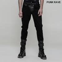 Steampunk Personalidad raya PU correa de cuero de los pantalones largos del punk rock pesado de los hombres oscuros de metal clásico Pantalones PUNK RAVE WK-323XCM