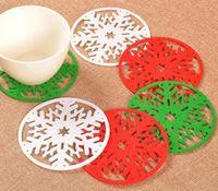 Hot 3 couleur 10 cm De Noël rond Neige napperon au crochet dessous de verre zakka napperons tasse pad props pour la décoration de table SN2271
