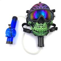 Maschera in silicone Bong tubo di fumo con teschio modello acrilico acqua Bongs con occhiali da sole Gasce Face Masquerade Dry Herb Multifunzione narghilè Shisha