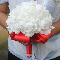 Ücretsiz Kargo Ucuz PE Gül Nedime Düğün Köpük Çiçekler Gül Gelin Buketi Şerit Sahte Düğün Buket de Noiva Özelleştirilmiş