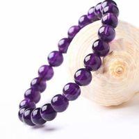 8mm redondo forma genuína natural roxo ametista cristal rodada pedras preciosas bracelete para homem mulher pulseira esticar