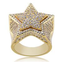 Новый персонализированный 18K позолоченный белый CZ Цирконий Pentagram кольца Алмазные Hip Hop ювелирные подарки для мужчин женщин 20мм Размер 7-11 оптом