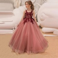 All'ingrosso Abbigliamento tutu rosa Wedding Dress ragazze Cerimonie bambini Flower Dress elegante principessa formale abito del partito per Teen ragazze BY1517