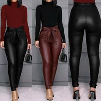 Сексуальные женщины Пу кожаные штаны гетры женские Узкие готические Punk Pant брюки высокой талией Твердые штаны Sexy Тощий