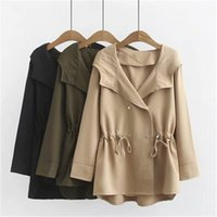 Spring Women Trench Coat Elegant Loose Outwear Coat 2020 New Autumn Long Sleeve Female Casual Oversize Hooded Trenchs J220