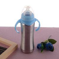 8 Unzen Edelstahl-Schnabeltasse Breastmilk Fütterung-Flaschen mit Natur Nippel Milchflasche Insulated Vakuum Tumbler mit doppeltem Griff Flasche A03