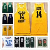 BEL-AIR 영화 농구 저지 스티치 블랙 화이트 그린 옐로우 믹스 주문의 저렴한 남성 (14) 윌 스미스 (25) 칼튼 은행 신선한 PRINCE