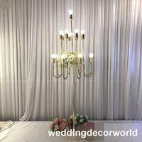 Europäischen stil eisen led licht kerzenständer säule hoch kristall glas candelabra kerzenhalter hochzeit mittelstücke decor0984