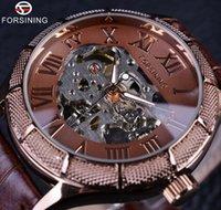 Forsining squelette Steampunk Montre-bracelet brun en cuir véritable Bracelet homme mécanique auto Montre vent Top Brand luxe automatique