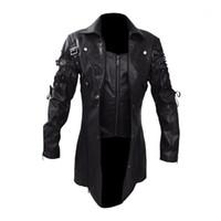 Chaqueta de hombre Moda Vintage Chaquetas de cuero Biker Motocicleta Cremallera Capa de manga larga Abrigo Top Blusas Alta Calidad Muestre abrigo New1