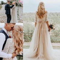 Bohême 2020 Nouveau Champagne Pays Robes de mariée avec manches A-ligne Hippie Ouest Robes de mariée Boho plage Robe de mariée
