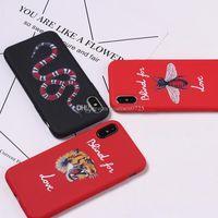 TPU PC del teléfono de silicona para el iPhone X 6 7 8 Plus 6S 5S XS Max XR Samsung Galaxy S7 S8 S9 Edge Plus Nota 8 de la serpiente tigre pintado cubierta