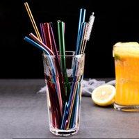US LAGER! 8 * 215mm Edelstahl 304 Straw gebogene und gerade wiederverwendbare Bunte Stroh Trinkhalme Metall Straw Bar Trinken Werkzeug FY4140