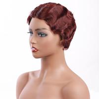 ishow 짧은 가발 2 # 99j 브라질 곱슬 손가락 웨이브 버진 인간의 머리 가발 여성을위한 8inch 스위스 레이스 페루 브라운 자연 색 꿀 금발 금발
