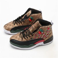 New 12 fashion tênis de basquete Homens Retro Red Brown GS Snakeskin Black 12s Mens Snakeskin Multicolor Sports Designe Sneakers hococal