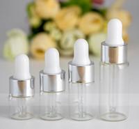 Tampão de prata Borracha branca superior 1ml 2ml 3ml 5ml perfume garrafas de óleo essencial âmbar clara gotas de vidro frasco frascos frascos com pipeta 1200pcs