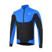 Arsuxeo uomo in bicicletta giacche antivento in pile Giacca con giacca invernale bicicletta Sport Coat equitazione lungo Maglia manica