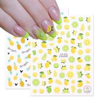 3D Limon Ananas Nail Art Sarı Çıkartmalar Tırnak Çıkartmaları Yaz Yapıştırıcı Renkli Meyve Papaya Manikür Kaymak Folyo Chca675-681