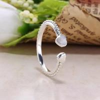 Al por mayor-plata anillos abiertos ajustes para joyas de estilo pandora 191045EN23 H8ale